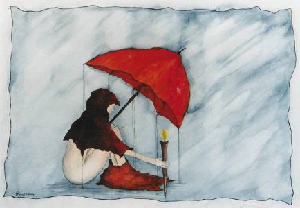 warten im regen